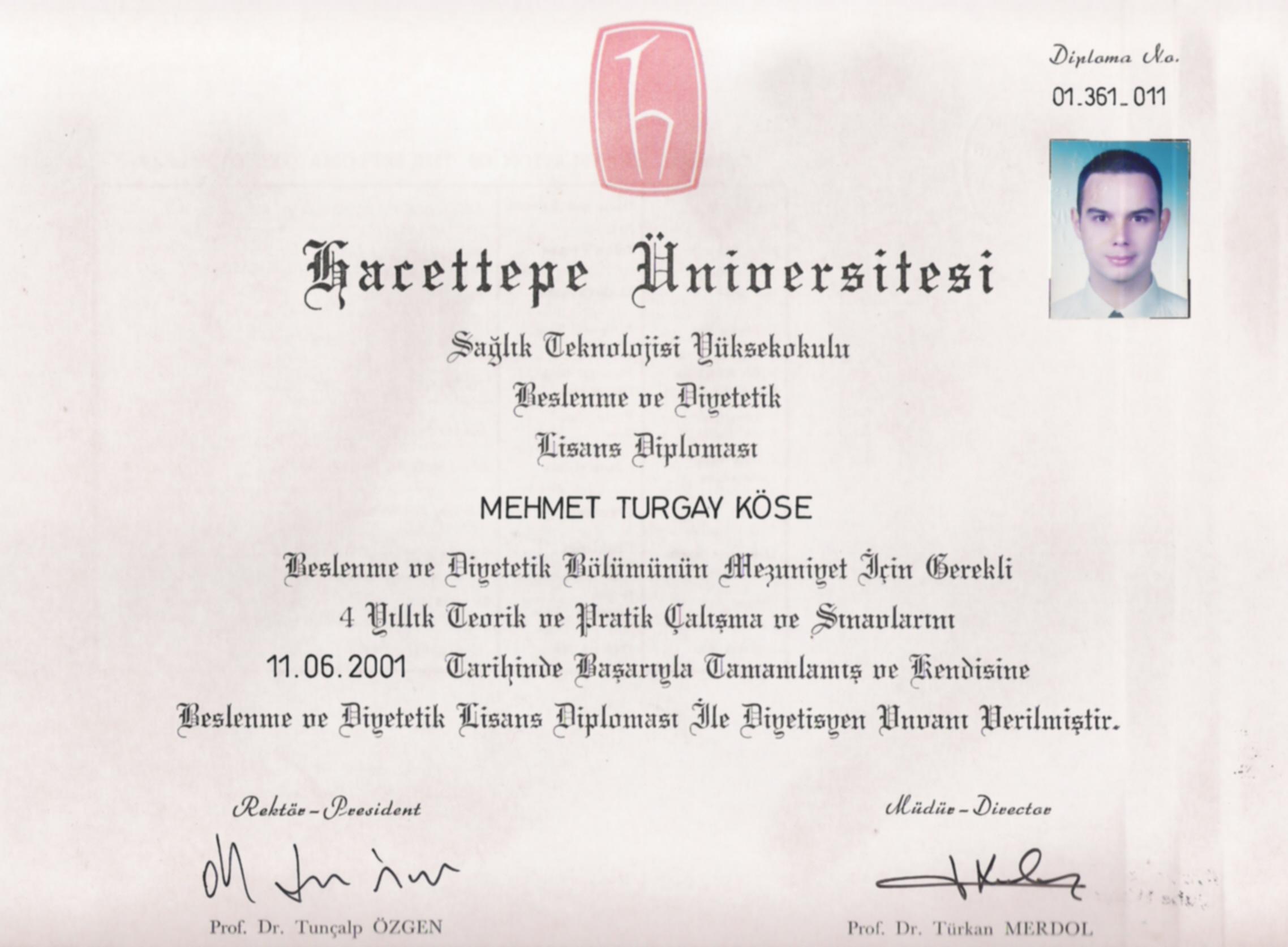 Hacettepe Üniversitesi Lisans Diploması