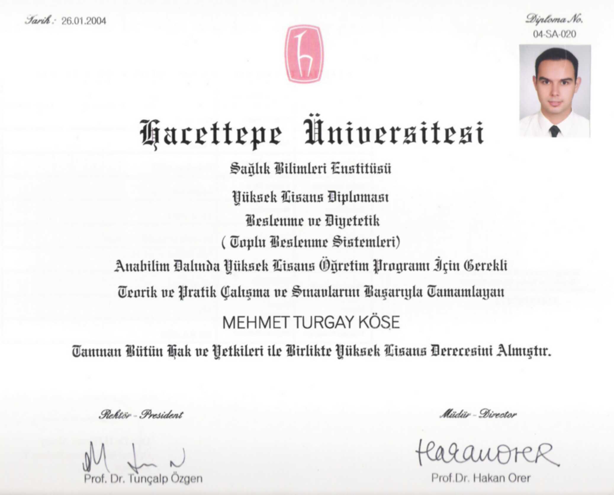 Hacettepe Üniversitesi Yüksek Lisans Diploması