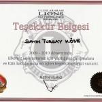 Uluslararası Lions 118-T Yönetim Çevresi Federasyonu Teşekkür Belgesi