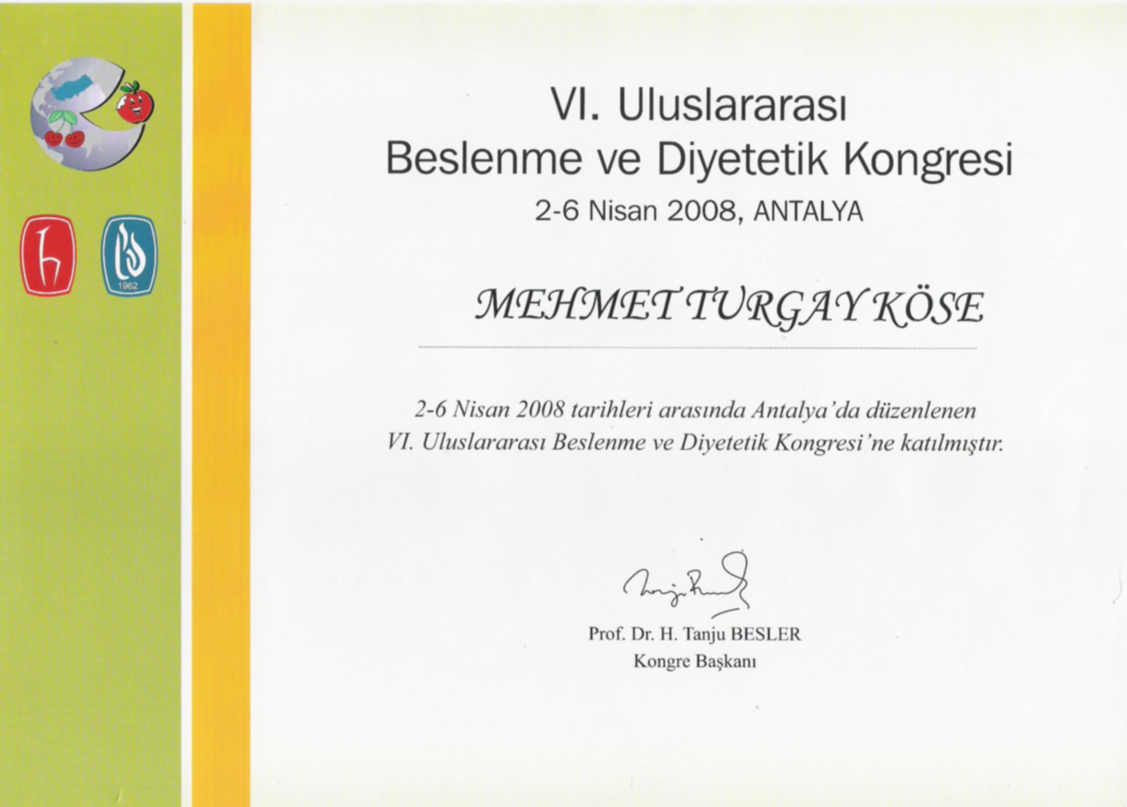 VI. Uluslararası Beslenme ve Diyetetik Kongresi